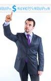 Homem de negócio que aponta ao gráfico do dinheiro Fotos de Stock