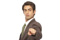 Homem de negócio que aponta o dedo em você Fotografia de Stock