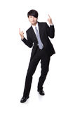 Homem de negócio que aprecia os braços do sucesso e do aumento Fotos de Stock Royalty Free