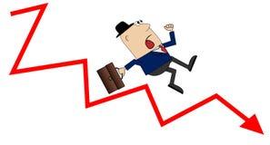 Homem de negócio que cai para baixo a escada da carreira Imagens de Stock Royalty Free