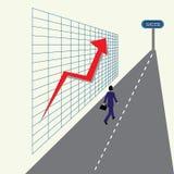 Homem de negócio que corre abaixo da estrada do sucesso Imagens de Stock Royalty Free