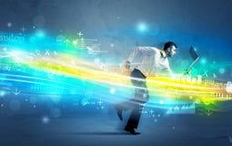 Homem de negócio que corre na elevação - conceito da onda da tecnologia Imagens de Stock Royalty Free