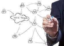 Homem de negócio que desenha uma rede social Fotos de Stock