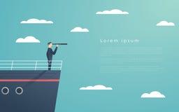 Homem de negócio que está em um navio como o símbolo da liderança, do profissionalismo e do gerente forte, poderoso ilustração do vetor