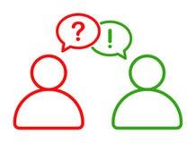 Homem de negócio que fala com ícone da informação da resposta da pergunta ilustração royalty free