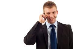 Homem de negócio que faz um atendimento de telefone Imagens de Stock