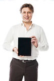 Homem de negócio que guarda o PC da tabuleta com tela preta Imagens de Stock
