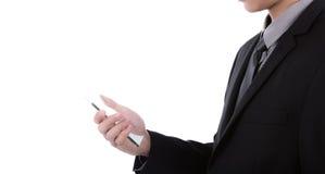 Homem de negócio que guarda o telefone móvel, esperto transparente Fotos de Stock
