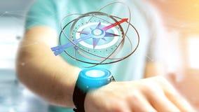 Homem de negócio que guarda um compasso da navegação - 3d rendido Imagens de Stock Royalty Free