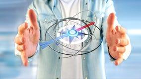 Homem de negócio que guarda um compasso da navegação - 3d rendido Imagem de Stock Royalty Free