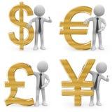 Homem de negócio que inclina-se nos sinais de moeda Fotos de Stock Royalty Free