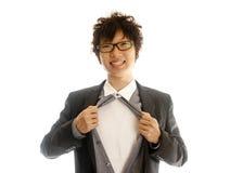 Homem de negócio que mostra dentro de seu terno Imagem de Stock