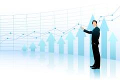 Homem de negócio que mostra o gráfico de barra Imagem de Stock