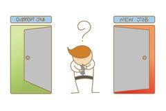 Homem de negócio que pensa para mudar o trabalho novo ou atual ilustração do vetor
