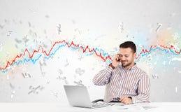 Homem de negócio que senta-se na tabela com gráfico do mercado de valores de ação Fotos de Stock Royalty Free