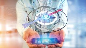 Homem de negócio que usa um compasso da navegação em um smartphone - 3d ren Fotos de Stock