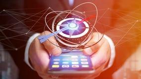 Homem de negócio que usa um compasso da navegação em um smartphone - 3d ren Imagens de Stock