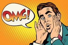 Homem de negócio retro surpreendido OMG do pop art emocional ilustração royalty free