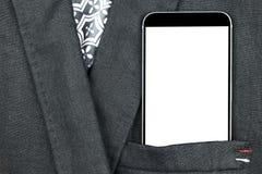 Homem de negócio seguro do close up que veste o terno e telefone celular elegante, smartphone com tela branca e espaço vazio no b Imagem de Stock