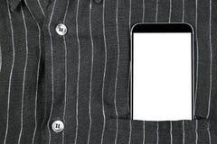 Homem de negócio seguro do close up que veste o terno e telefone celular elegante, smartphone com tela branca e espaço vazio no b Imagem de Stock Royalty Free