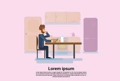 Homem de negócio Sit Kitchen Eat Breakfast ilustração royalty free