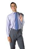 Homem de negócio smilling estando imagem de stock
