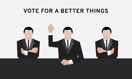 Homem de negócio três na mão do terno acima do braço aéreo e transversal para o voto da eleição e da mão na sala de conferências  ilustração do vetor