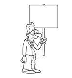 Homem de negócio triste preto e branco com sinal do protesto Fotografia de Stock