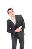 Homem de negócio triste que tem a dor, dor de estômago. Imagem de Stock Royalty Free