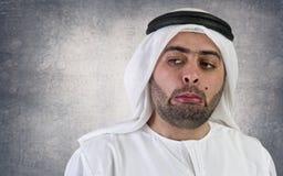 Homem de negócios árabe com uma expressão estranha Fotos de Stock Royalty Free