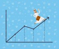 Homem de negócios árabe que corre ao longo do gráfico do crescimento Imagem de Stock Royalty Free