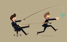Homem de negócios ávido forçado que corre após o dinheiro, desenhos animados do vetor Fotos de Stock Royalty Free