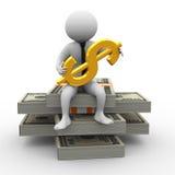 homem de negócios 3d e dólar Fotografia de Stock Royalty Free