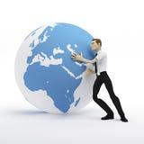 homem de negócios 3d que empurra o globo da terra Fotos de Stock Royalty Free