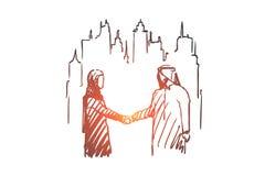 Homem de negócios, acordo, terceirização, muçulmano, conceito do companheiro Vetor isolado tirado mão ilustração royalty free