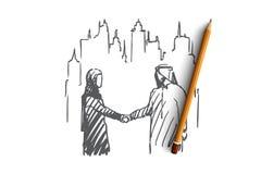 Homem de negócios, acordo, terceirização, muçulmano, conceito do companheiro Vetor isolado tirado mão ilustração do vetor
