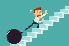 Homem de negócios acorrentado à escada de escalada da bola de metal Foto de Stock Royalty Free
