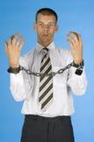 Homem de negócios acorrentado foto de stock royalty free