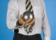 Homem de negócios acorrentado Imagens de Stock Royalty Free