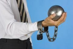 Homem de negócios acorrentado Fotos de Stock Royalty Free