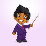 Homem de negócios afro-americano bonito do menino dos desenhos animados que apresenta com ponteiro Ilustração do vetor do menino  Fotografia de Stock