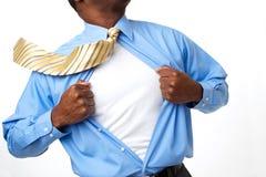 Homem de negócios afro-americano do super-herói Imagens de Stock