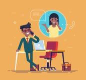 Homem de negócios afro-americano seguro que está de inclinação em uma tabela e de fala no telefone com uma mulher Vetor Imagem de Stock
