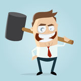 Homem de negócios agressivo com martelo grande Fotografia de Stock Royalty Free