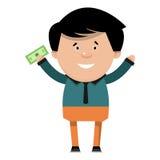 Homem de negócios alegre dos desenhos animados com dinheiro em sua mão Illu do vetor Foto de Stock