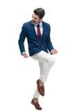 Homem de negócios alegre que comemora seu sucesso Imagens de Stock