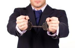 Homem de negócios amarrado acima dos punhos disponivéis Foto de Stock