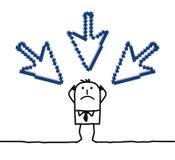 Homem de negócios & cursores apontando grandes Imagem de Stock Royalty Free