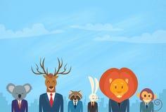 Homem de negócios animal Suit Collection da cabeça dos desenhos animados Imagem de Stock