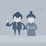 Homem de negócios asiático Businesswoman da raça da mistura do personagem de banda desenhada dos pares de Ásia do homem e da mulh ilustração royalty free